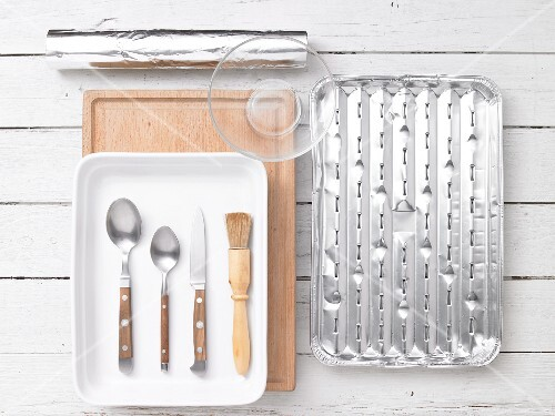 Assorted barbecue utensils