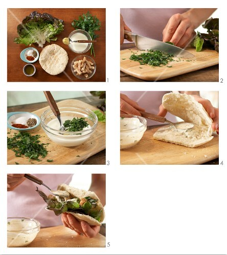 How to prepare flatbread with chicken and herb salad