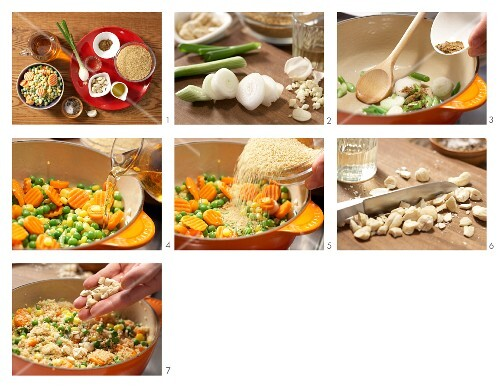How to prepare vegetables and cashew nuts