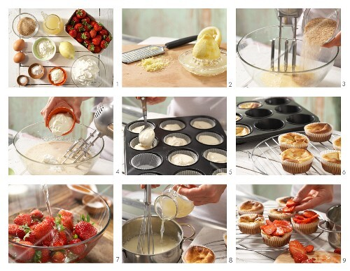 How to make quark muffins with strawberries