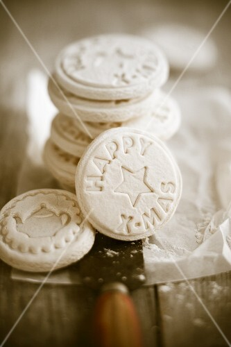 Assorted round Springerle (anise biscuits with an embossed design)