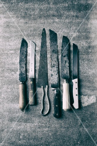 Various kitchen knives (black-and-white shot)