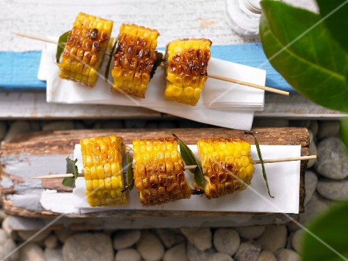 Sweetcorn & bay leaf kebabs