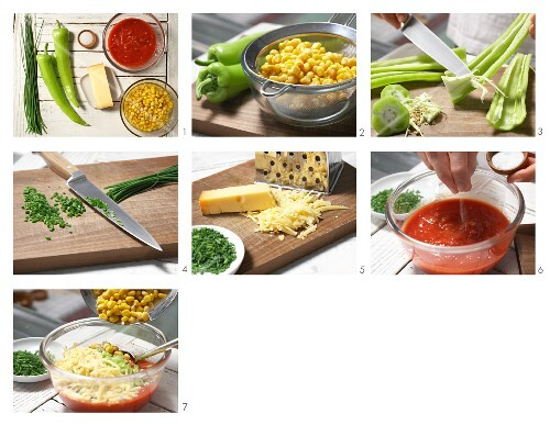 How to prepare pepper & sweetcorn dip with cheese and chives