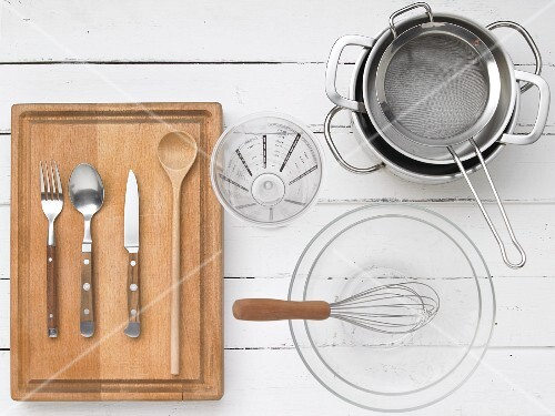 Kitchen utensils for preparing red berry jelly