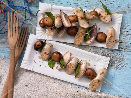 Sausage & mushrooms kebabs with bay leaves