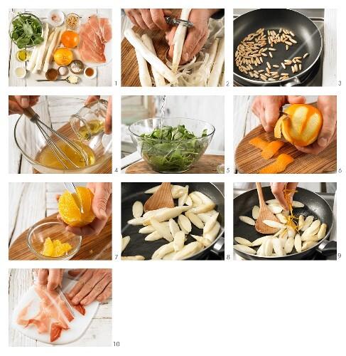 How to prepare asparagus & orange salad with Serrano ham and pine nuts
