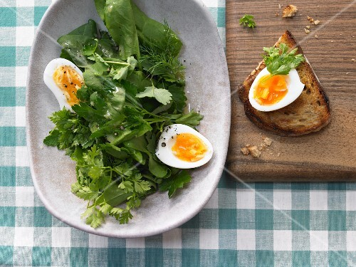 Herb salad with egg and a light mustard vinaigrette