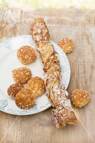 Chouquettes (profiteroles) and Sacristain (puff pastry stick filled with nuts), France