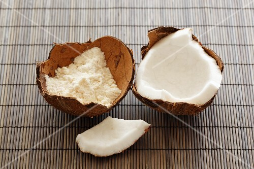 Coconut flour and coconut flesh