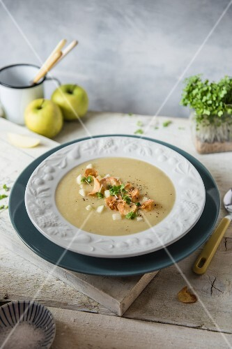 Creamy parsnip and apple soup with parsnip crisps
