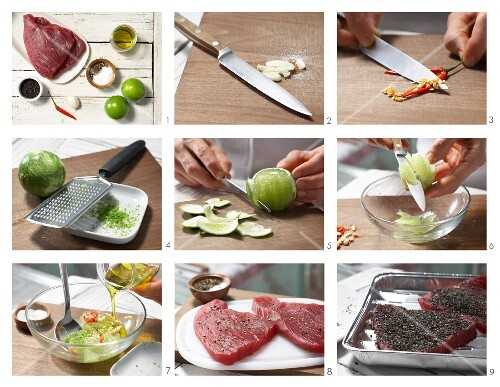 How to prepare tuna with a nigella crust and lime wedges
