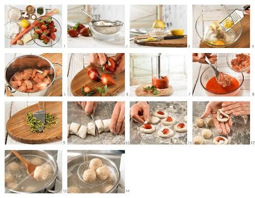 How to prepare strawberry & quark dumplings with strawberry & rhubarb sauce