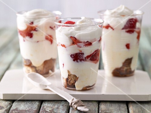 Strawberry and espresso layered dessert with quark
