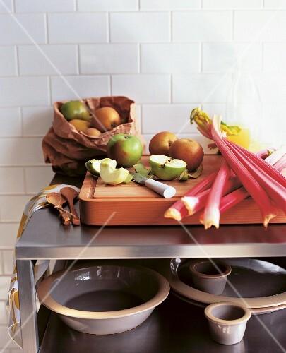 Rhubarb, apples and ramekins for rhubarb & apple crumble