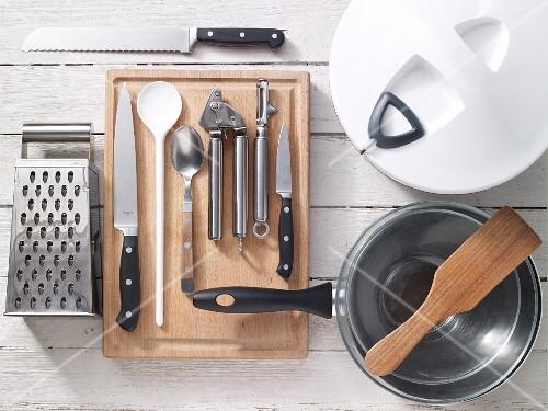 Kitchen utensils for preparing turkey with vegetables and tzatziki