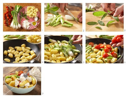 How to prepare gnocchi with cherry tomatoes, spring onions and rocket