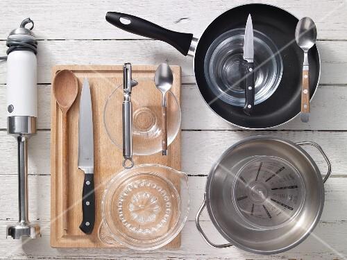 Kitchen utensils for preparing carrot and orange soup