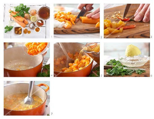 How to prepare apricot and carrot soup with chilli and honey