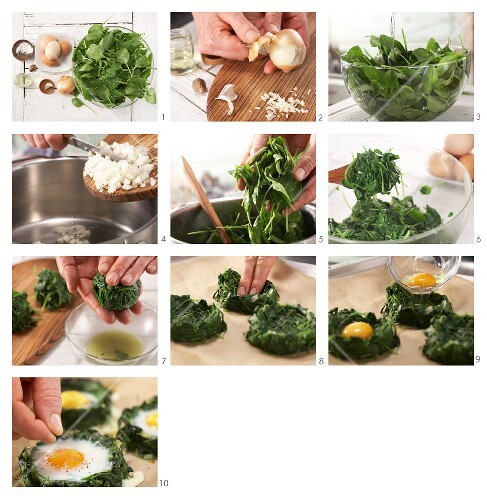 How to prepare spinach nests with eggs