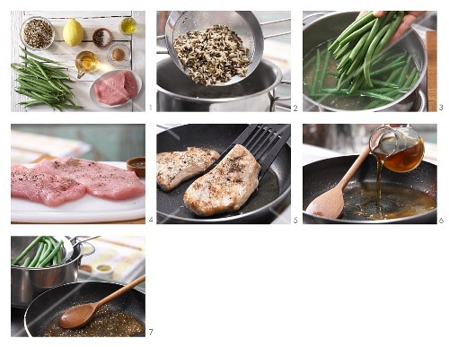 How to prepare lemon escalope with wild rice and green beans