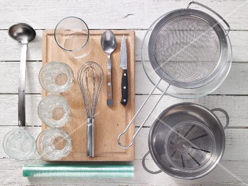 Assortedkitchen utensils for preparing jelly dishes