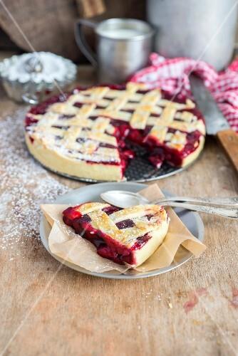 Sliced cherry lattice pie