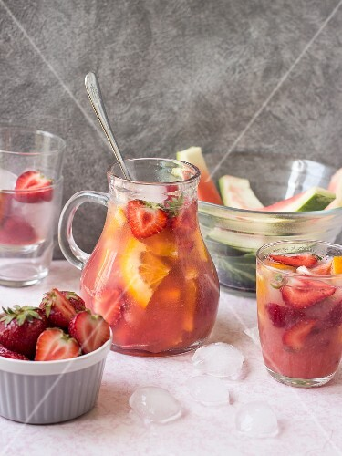 Sangria with strawberries and watermelon