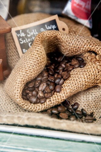 Coffee beans in a jute sack