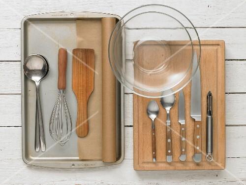 Kitchen utensils for preparing asparagus salad