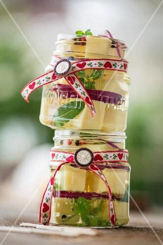 Pickled cheese in jars for Oktober Fest