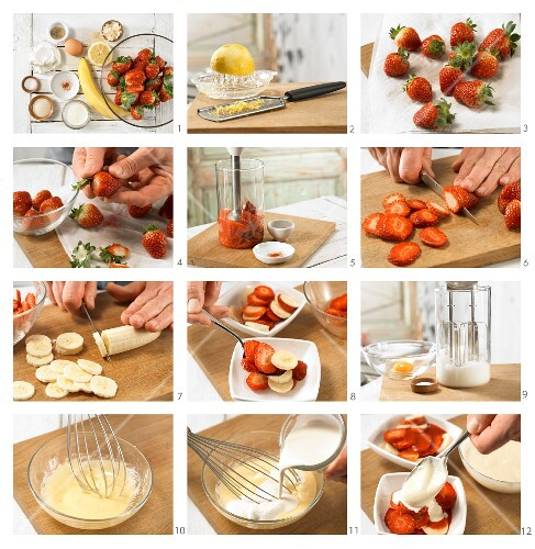 How to prepare gratinated strawberries with quark foam