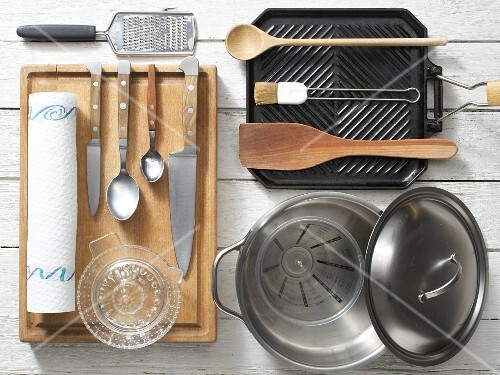 Kitchen utensils for preparing pepper and lime couscous with grilled mackerel