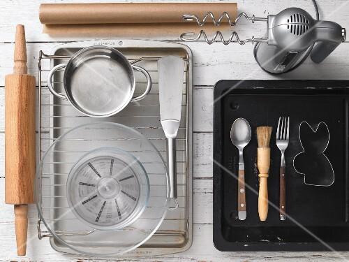 Assorted baking utensils for preparing Easter pastries