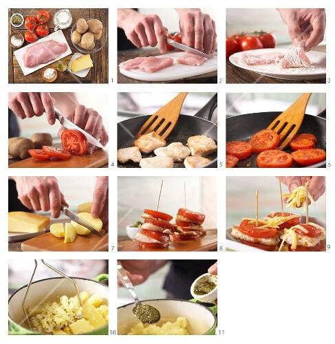 How to prepare an escalope tower with pesto and potato purée