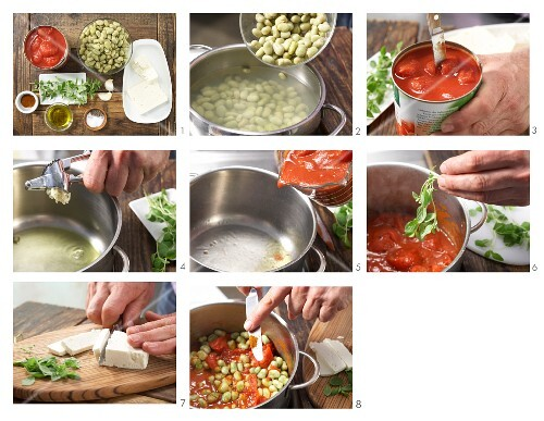 How to prepare broad beans and tomatoes with sheep's cheese