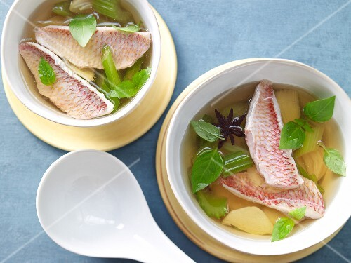 Clear broth with red mullet and ginger