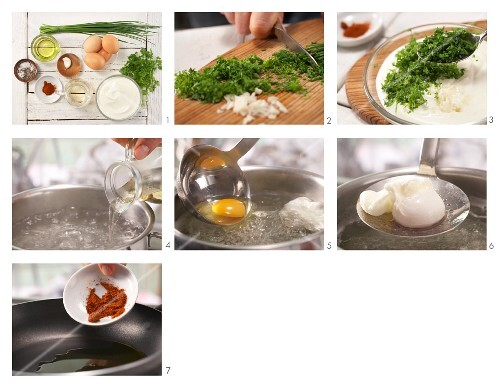 How to prepare poached eggs with herb and yoghurt sauce