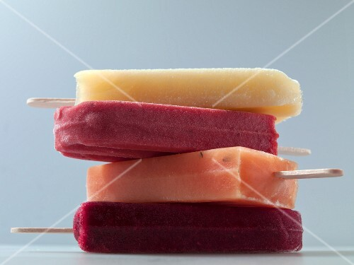 Four different fruit ice lollies (close-up)