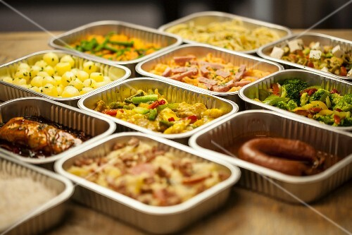 Assorted ready meals in aluminium containers