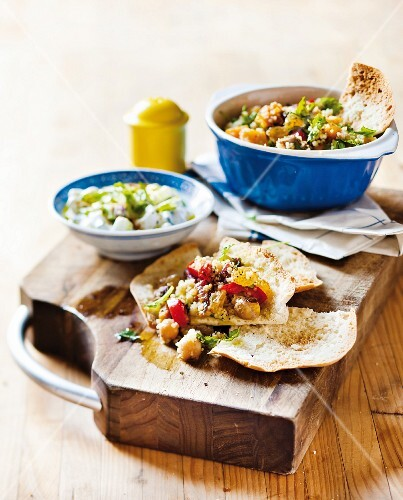 Moroccan couscous with vegetables and flatbread