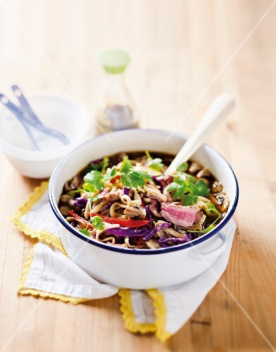 Spicy beef & noodle soup