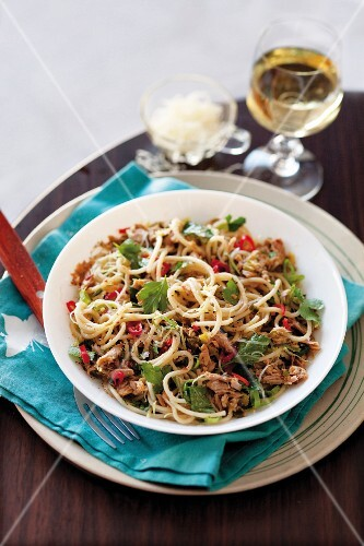 Noodles with tuna, chilli and Parmesan