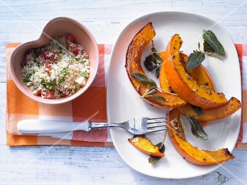 Stewed pumpkin with sage and tomato couscous