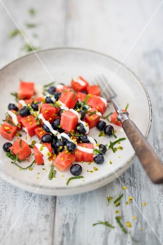 Watermelon salad with blueberries and silk tofu