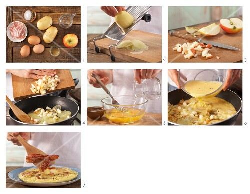 How to prepare an omelette with potato, bacon and apple