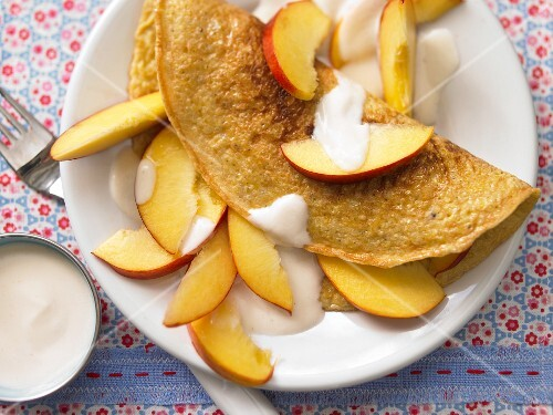 A millet omelette with nectarines