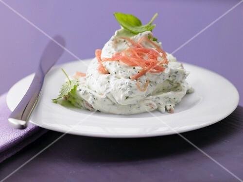 Herb and ham cream with cream cheese