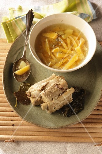 Swede stew with boiled pork spare ribs