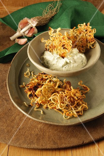 Noodle thins with a chive & garlic dip